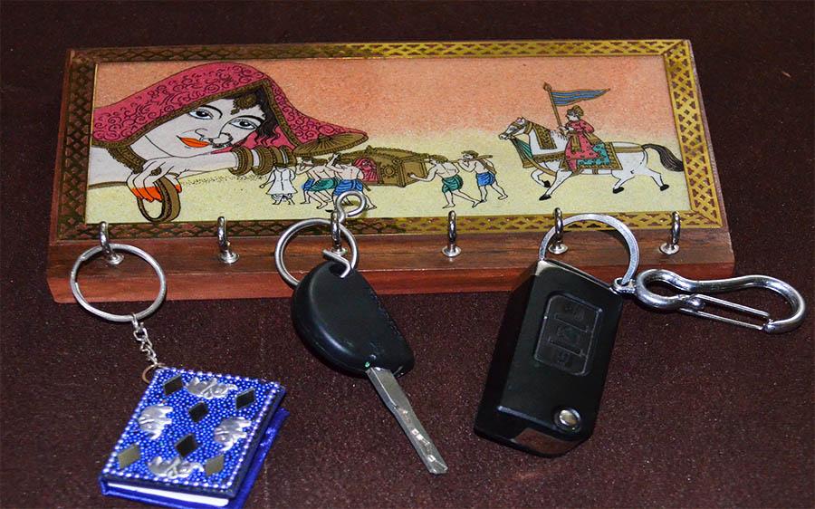 Gemstone Painting Wood Key Holder Wall Mounted Key