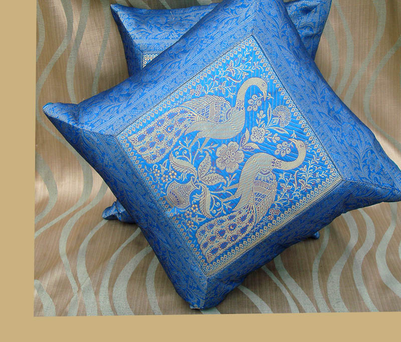 PAIR (TWO) OF SILK BROCADE PILLOW/CUSHION COVER BLUE COLOR