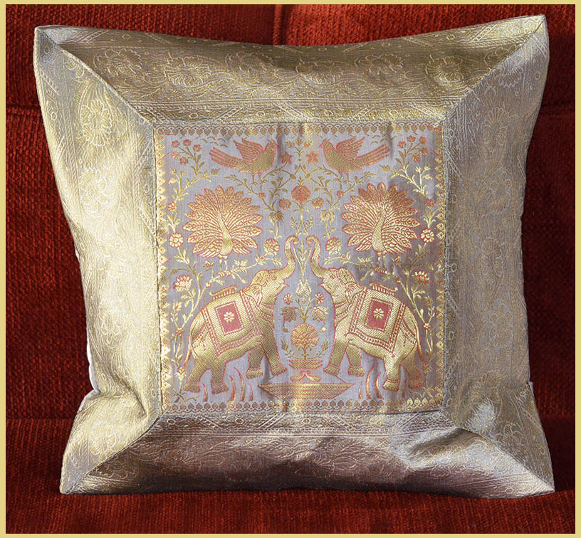 PAIR (TWO) OF SILK BROCADE PILLOW/CUSHION COVER SILVER