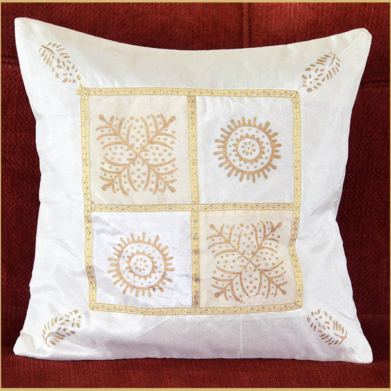 WHITE SILK GOLD BLOCK PRINTING PILLOW COVER/CUSHION COVER