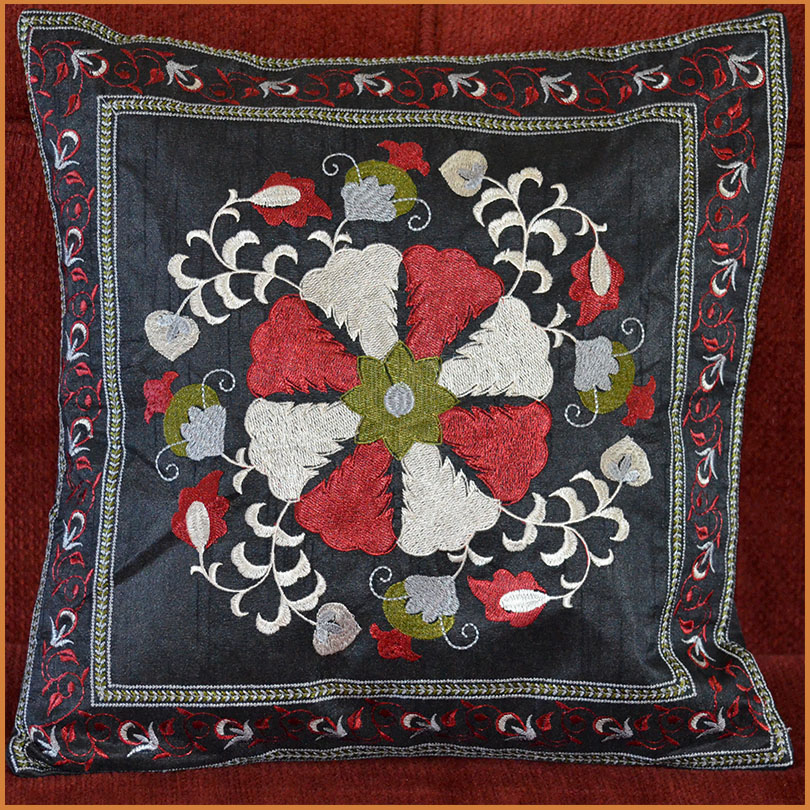 Silk Embroidery Hand Made Black Pillow Cover From India
