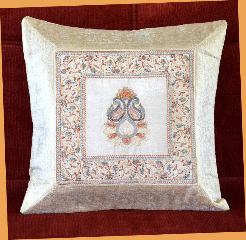 WHITE SILK EMBROIDERY BROCADE PILLOW COVER/CUSHION COVER