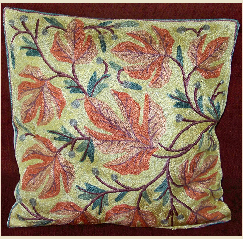 Kashmiri chain stitch hand embroidered pillow cover india