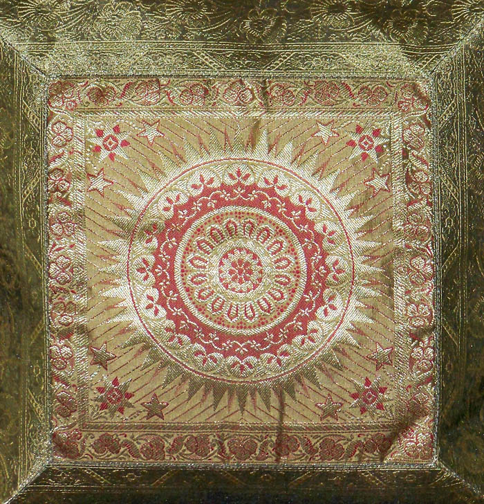 SET OF TWO INDIA SILK BROCADE GOLD RED COLOR PILLOW