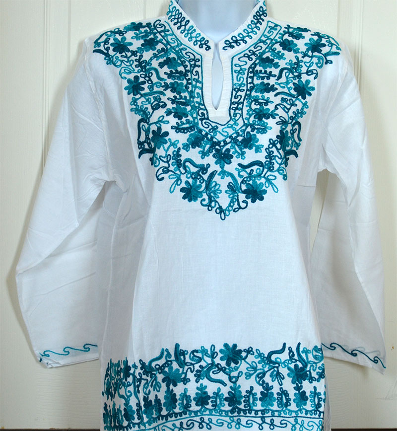 84c6e268782 Details about Teal Embroidered White Cotton Tunic Top Kurti Long Sleeve  Blouse from India